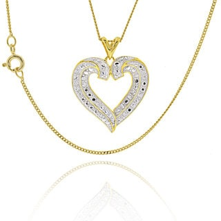 Sterling Silver Two Tone Round DiamondAccent Heart 18 Inch Necklace China