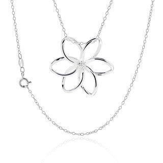 "Sterling Silver Round CZ 3-D Flower Necklace 18"" Chain"