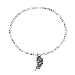 Handmade Angel Wing Protection Sterling Silver Stretch Beads Bracelet