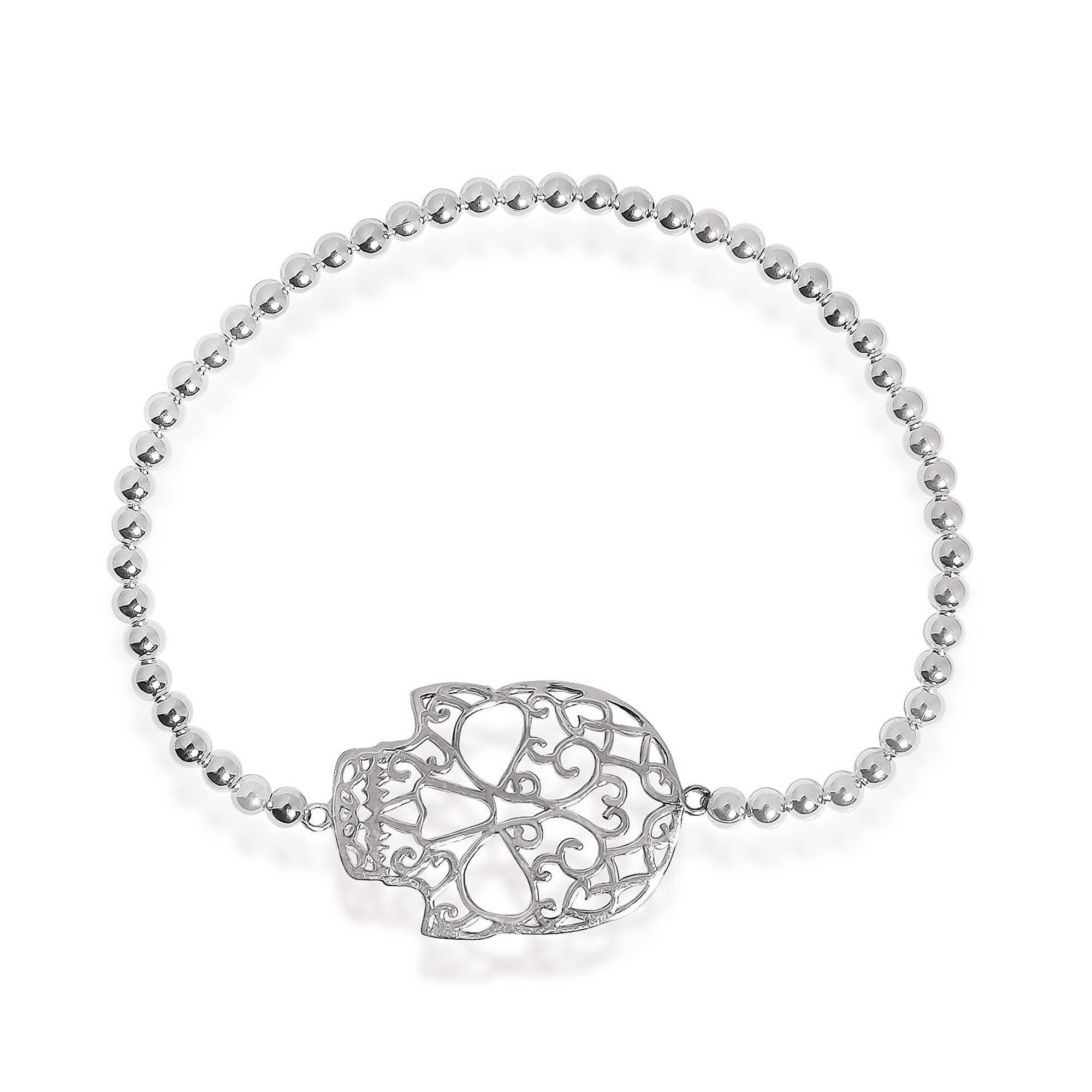 Aeravida Handmade Swirl Skull Charm Sterling Silver Elast...