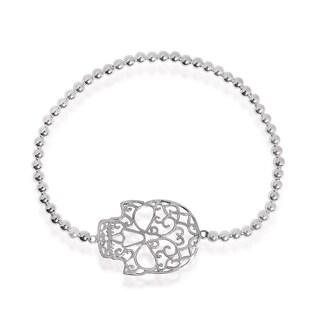 Handmade Swirl Skull Charm Sterling Silver Elastic Beads Bracelet (Thailand)