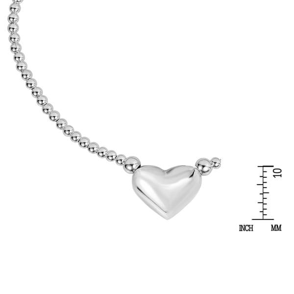 Handmade Charming & Chic Romantic Heart Sterling Silver Beaded Bracelet (Thailand)