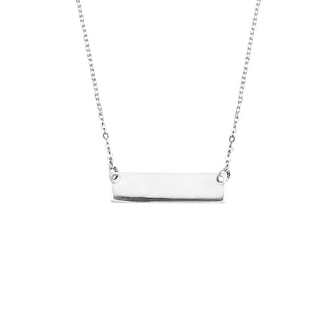 Handmade Engravable Rectangle Bar .925 Sterling Silver Necklace (Thailand)