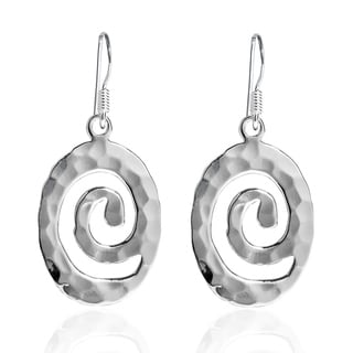 Hammered Oval Spiral Sterling Silver Dangle Earrings (Thailand)