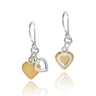 Dangle Heart Two Tone Gold Overlay Sterling Silver Earrings (Thailand)