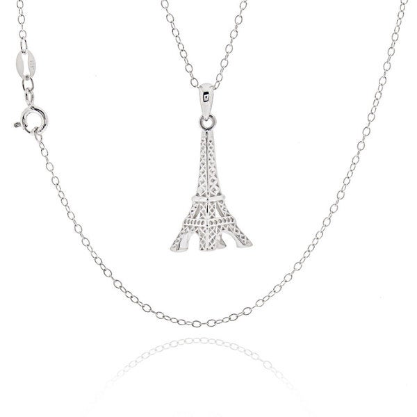 Shop sterling silver eiffel tower 18 inch necklace free shipping sterling silver eiffel tower 18 inch necklace mozeypictures Image collections