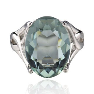 Sterling Silver Oval Crystal Solitaire Ring (China)