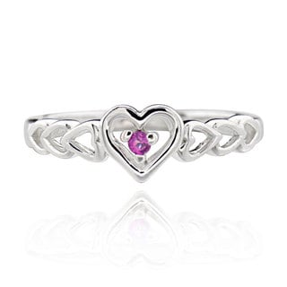 Sterling Silver Round Rhodolite Multi Heart Linking Ring (China)