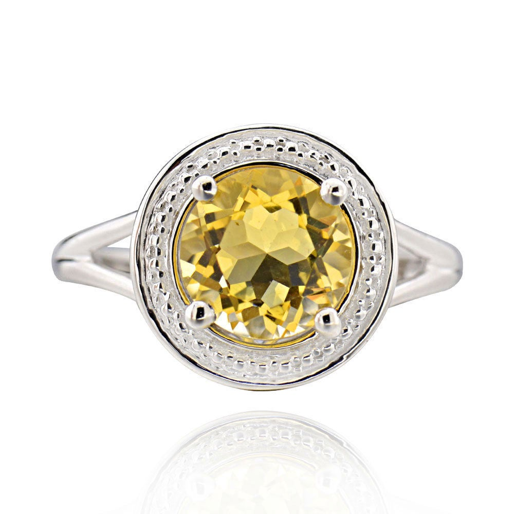 Citrine Ring in 14k Gold Over Silver Band Jewelry Handmade by Skilled Artisan