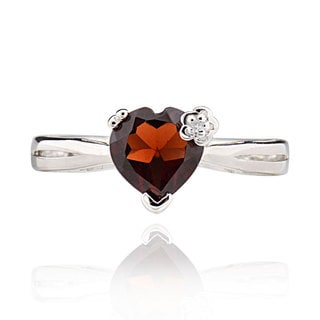 Sterling Silver Heart Garnet Ring (China)
