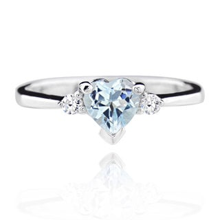 Women's Sterling Silver Blue Heart Topaz Ring (China) - White (Option: 7.5)