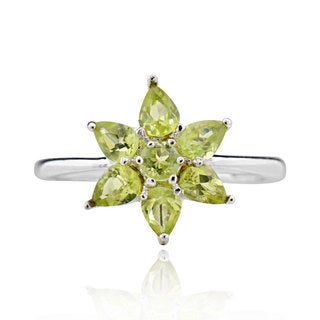 Sterling Silver Pear Peridot Ring (China)