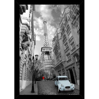 Paris Red Girl Poster (24x36) with Contemporary Poster Frame - Black/White