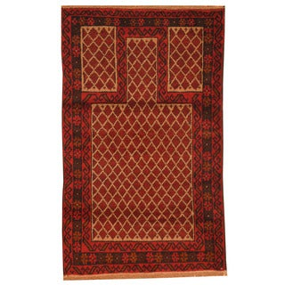Herat Oriental Afghan Hand-knotted Tribal Balouchi Red/ Ivory Wool Rug (2'9 x 4'6)