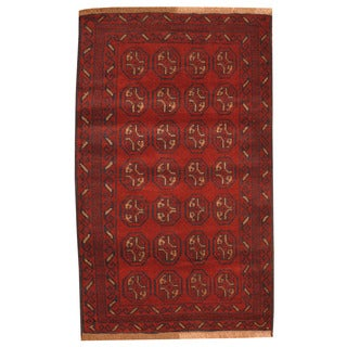 Herat Oriental Afghan Hand-knotted Tribal Balouchi Red/ Ivory Wool Rug (2'9 x 4'7)
