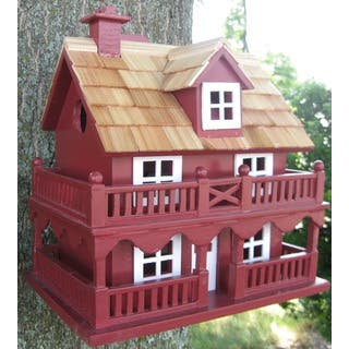 Red Novelty Cottage Outdoor Birdhouse|https://ak1.ostkcdn.com/images/products/10620734/P17690962.jpg?impolicy=medium