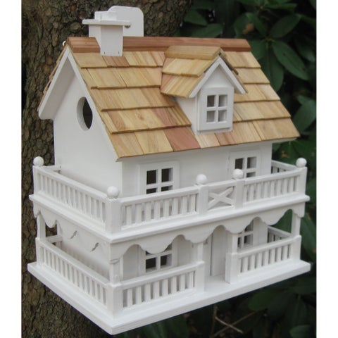 White Novelty Cottage Birdhouse