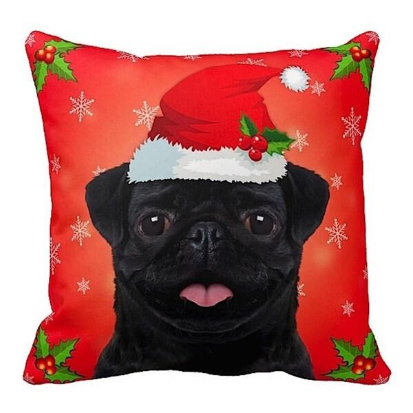 Pug Black in Santa Hat Christmas 16x16 Throw Pillow