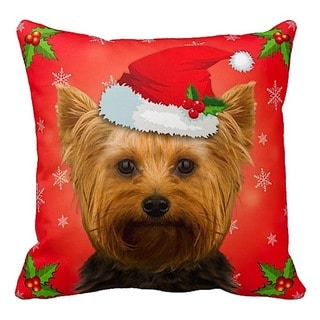 Yorkie in Santa Hat Christmas 16x16 Throw Pillow