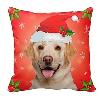 Labrador Yellow in Santa Hat Christmas 16x16 Throw Pillow