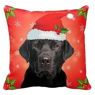Labrador Black in Santa Hat Christmas 16x16 Throw Pillow