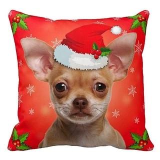 Chihuahua Fawn in Santa Hat Christmas 16x16 Throw Pillow