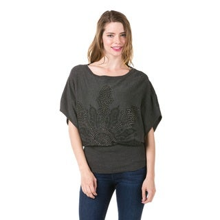 High Secret Women's Embellished Grey Boat Neck Tunic (One Size Fits Most)