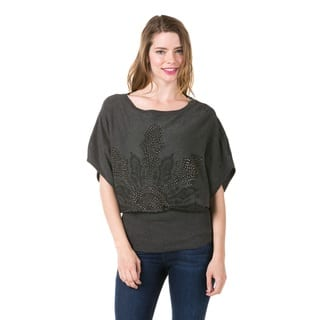 High Secret Women's Embellished Grey Boat Neck Tunic (One Size Fits Most)|https://ak1.ostkcdn.com/images/products/10620753/P17690979.jpg?impolicy=medium