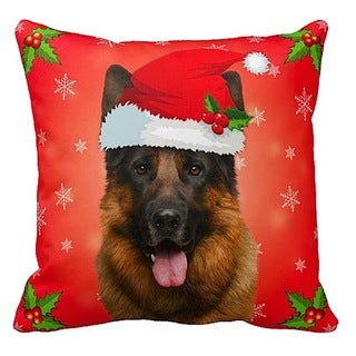 German Shepherd in Santa Hat Christmas 16x16 Throw Pillow