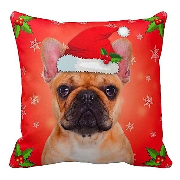 French Bulldog Fawn in Santa Hat Christmas 16x16 Throw Pillow
