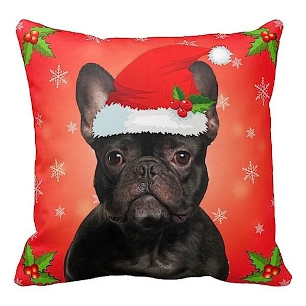 French Bulldog Black in Santa Hat Christmas 16x16 Throw Pillow
