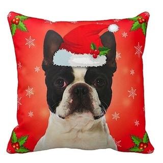 Boston Terrier in Santa Hat Christmas 16x16 Throw Pillow
