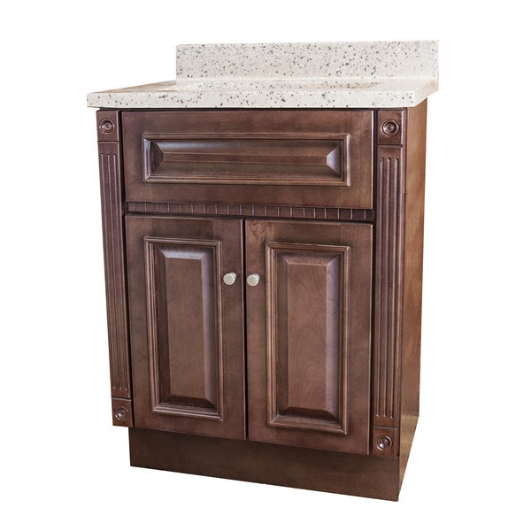 Marble Vanity : Cherry Stained Vanity and Rocky Trail Cultured Marble Top - Free ...