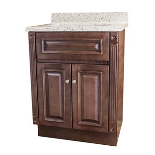 Cherry Stained Vanity and Rocky Trail Cultured Marble Top