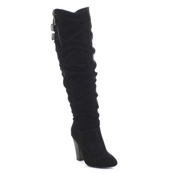 QUPID MADGE-31 Women's Almond Toe Elastic Slouchy Chunky Heel Knee High Boots