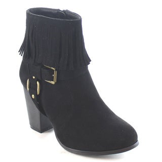 Machi Mosh Women's Buckled Strap Chunky Heel Fringe High Heel Ankle Booties
