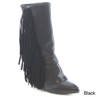 Machi Vivi-1 Women's Snake Pointed Toe Fringe Wedges Mid Calf Boots