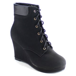 EYE CANDIE AIMEE-500 Women's Comfy Platform Lace Up Wedge Ankle Bootie