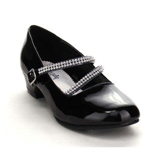 Beston BA04 Girl's Rhinestone Strap Mary Jane Kitten Heel Pumps