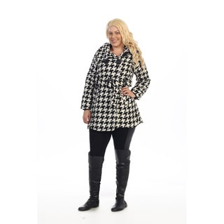Ella Samani's Plus Size Belted Houndstooth Jacket