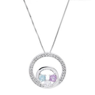 1/4ct TDW Diamond Multi Stone Circle Pendant Necklace