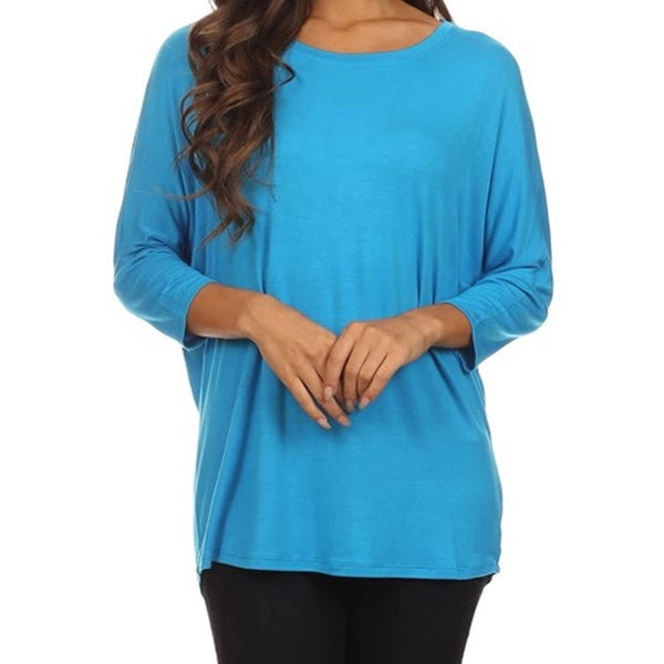 MOA Collection Women's Plus Size Basic Solid Color Dolman Tee