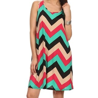MOA Collection Women's Plus Size Zigzag Print Shift Dress