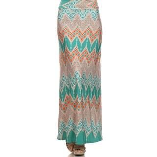 MOA Collection Women's Plus Size Boho Chevron Print Skirt
