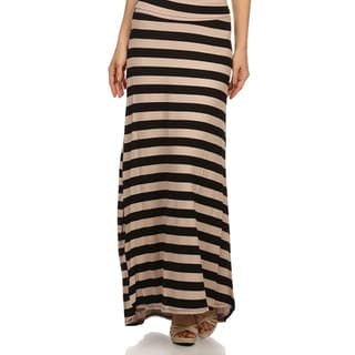 MOA Collection Women's Plus Size Striped Maxi Skirt