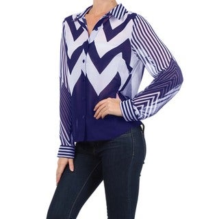 MOA Collection Women's Striped and Chevron Print Top