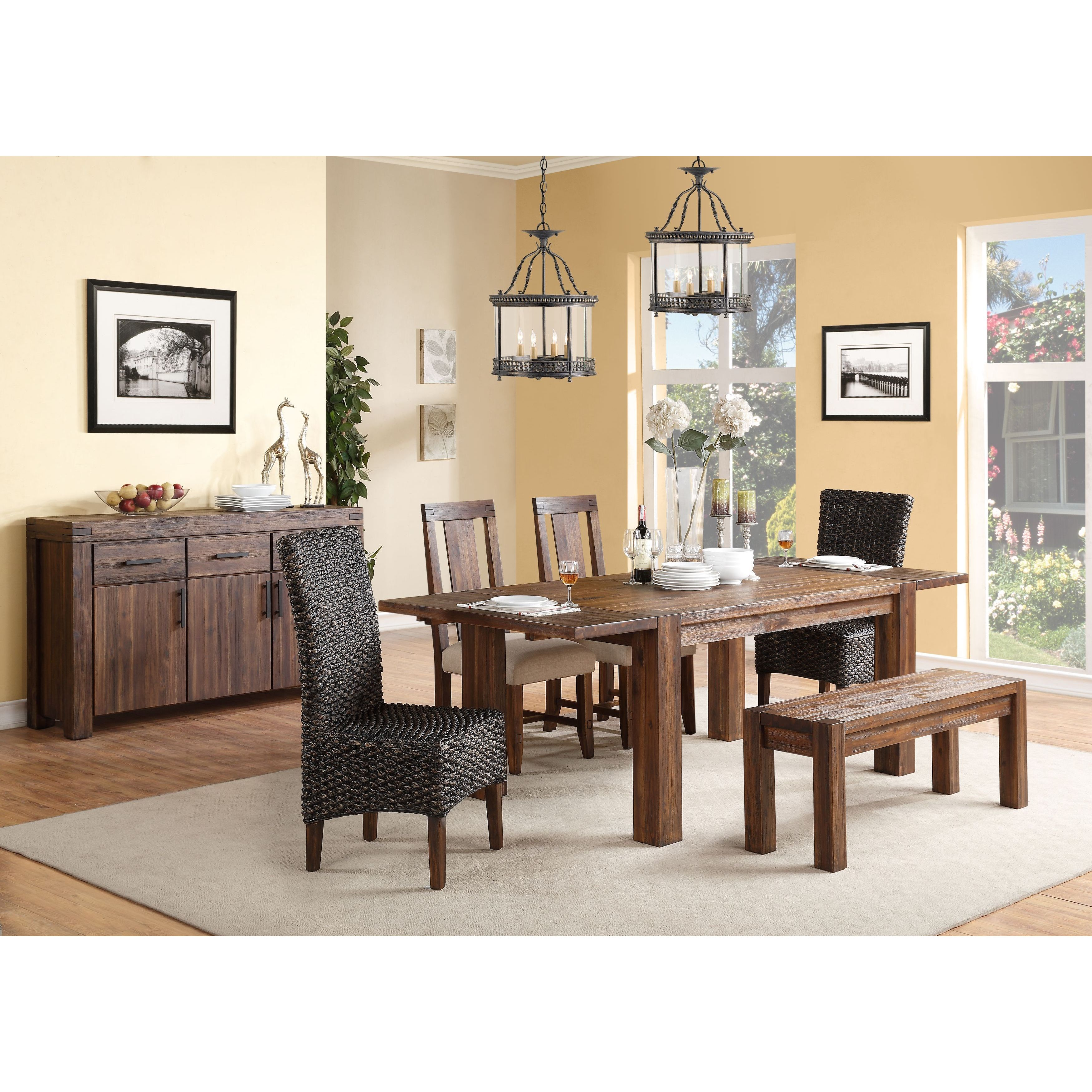 Shop Wire Brushed Solid Wood Extending Dining Table In Brick Brown   Free  Shipping Today   Overstock   10620895