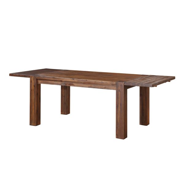 Wire Brushed Solid Wood Extending Dining Table In Brick Brown