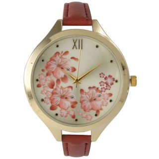 Olivia Pratt Women's Skinny Blossoms Leather Watch