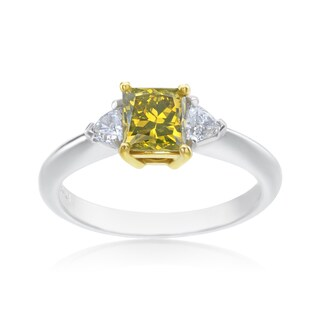 SummerRose Platinum and 18k Yellow Gold 1 1/3ct TDW Princess-cut Yellow Diamond 3-stone Ring - White